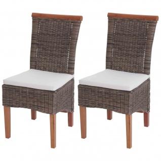 2x Esszimmerstuhl Savona, Stuhl Küchenstuhl, Rattan ~ mit Sitzkissen