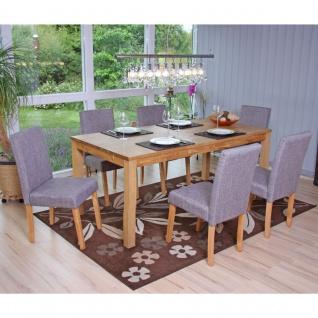 6x Esszimmerstuhl Stuhl Küchenstuhl Littau ~ Textil, grau, helle Beine
