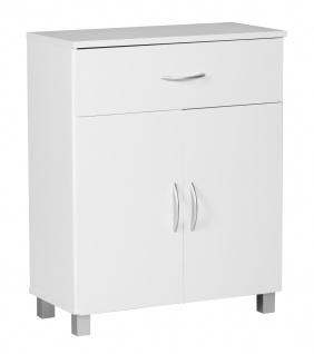 Sideboard A050 Kommode Schrank, 60 x 75 cm mit 2 Türen & 1 Schublade weiß