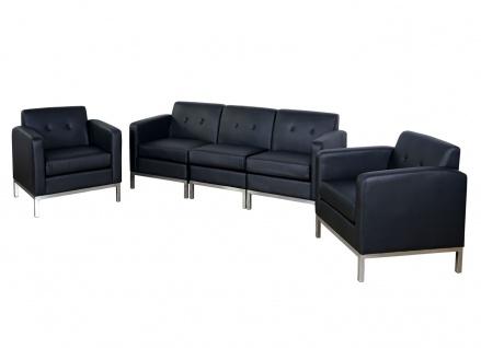 3-1-1 Sofagarnitur HWC-C19, Modular-Sofa Loungesofa, erweiterbar Kunstleder schwarz - Vorschau 1