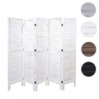 Paravent HWC-G30, Trennwand Sichtschutz Raumteiler, Shabby-Look 170x200cm ~ weiß