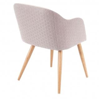 2x Esszimmerstuhl HWC-D71, Stuhl Küchenstuhl, Retro Design, Armlehnen Stoff/Textil ~ creme-beige - Vorschau 5
