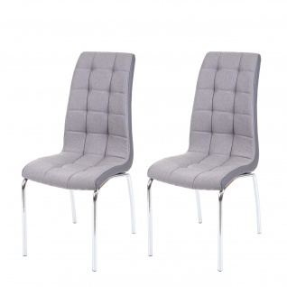 2x Esszimmerstuhl HWC-F29, Stuhl Küchenstuhl, Kunstleder Stoff/Textil hellgrau