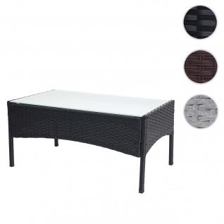 Poly-Rattan Gartentisch Halden, Beistelltisch Tisch mit Glasplatte ~ anthrazit