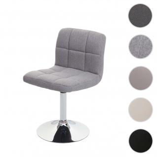 Esszimmerstuhl Kavala, Küchenstuhl Stuhl, drehbar ~ Stoff/Textil hellgrau, Chromfuß