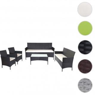 3-2-1-1 Poly-Rattan Garten-Garnitur Halden, Lounge-Set Sitzgruppe Sofa ~ anthrazit, Kissen creme