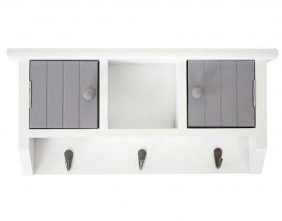 Schlüsselbrett HWC-A48, Schlüsselkasten Schlüsselboard mit Türen, Massiv-Holz ~ grau-weiß - Vorschau 5