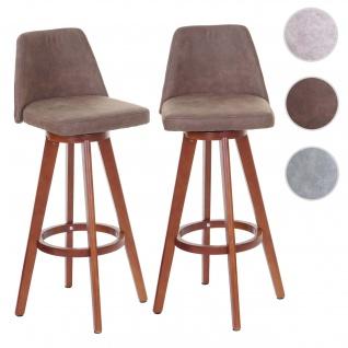 2x Barhocker HWC-C43, Barstuhl Tresenhocker, Holz Textil drehbar Vintage braun dunkle Beine