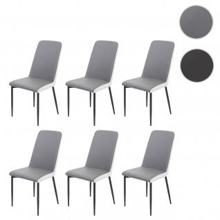 6x Esszimmerstuhl HWC-F26, Stuhl Küchenstuhl, Kunstleder ~ Sitzfläche grau