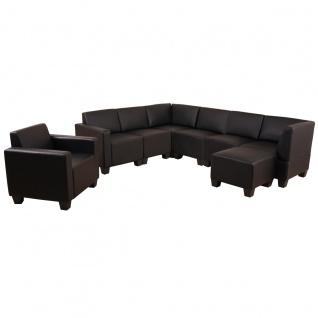 Sofa-System Couch-Garnitur Lyon 6-1-1, Kunstleder schwarz