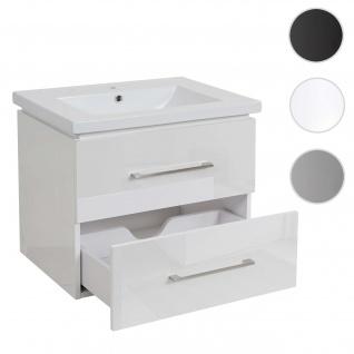 Premium Waschbecken + Unterschrank HWC-D16, Waschbecken Waschtisch, hochglanz 60cm ~ weiß