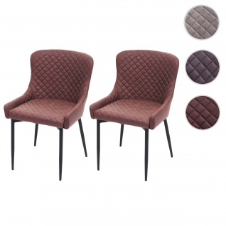 2x Esszimmerstuhl HWC-H79, Küchenstuhl Lehnstuhl Stuhl, Vintage Metall ~ Stoff/Textil braun