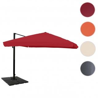 Gastronomie-Ampelschirm HWC-A96, 3, 5x3, 5m (Ø4, 95m) Polyester/Alu 25kg ~ Flap, bordeaux mit Ständer, drehbar