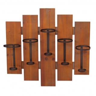 Weinregal HWC-B99, Wandregal Flaschenhalter, Holz Metall für 5 Flaschen 60x60x12cm - Vorschau 3