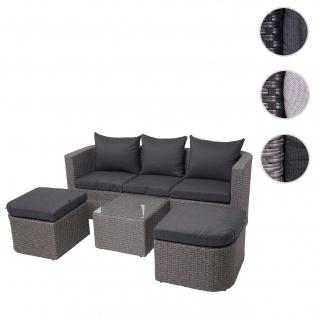 3in1-Garnitur HWC-J37, Garten-/Lounge-Set Sonneninsel, Spun Poly halbrundes Poly-Rattan ~ grau, Kissen anthrazit