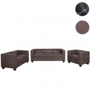 3-2-1 Sofagarnitur Couchgarnitur Loungesofa Lille, Stoff/Textil vintage dunkelbraun