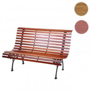 Gartenbank HWC-F97, Sitzbank Parkbank Holzbank, 2-Sitzer Gusseisen Holz 122cm 22kg ~ braun
