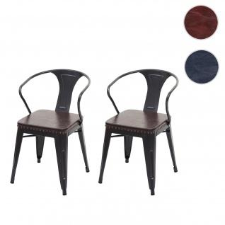 2x Esszimmerstuhl HWC-H10d, Stuhl Küchenstuhl, Chesterfield Metall Kunstleder Industrial Gastronomie ~ schwarz-braun