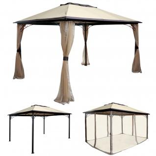 Pergola HWC-C44, Garten Pavillon, stabiles 7cm Alu-Gestell mit Moskitonetz, 4x3m