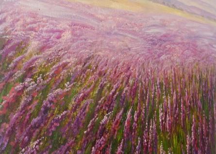 Ölgemälde Blumenfeld, 100% handgemaltes Wandbild XL, 100x80cm - Vorschau 4