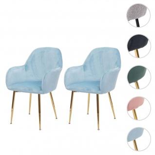 2x Esszimmerstuhl HWC-F18, Stuhl Küchenstuhl, Retro Design ~ Samt mint, goldene Beine