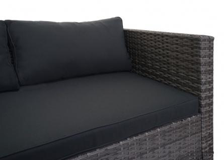 Poly-Rattan Garnitur HWC-F57, Balkon-/Garten-/Lounge-Set Sofa Sitzgruppe ~ grau, Kissen dunkelgrau mit Deko-Kissen - Vorschau 3