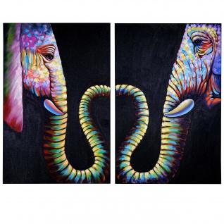 Ölgemälde 2x Elefant, 100% handgemaltes Wandbild Gemälde XL, 120x90cm