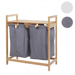 Wäschesammler HWC-B83, Laundry Wäschesortierer Wäschekorb Wäschebehälter, Bambus 2 Fächer 74x64x33cm 70l ~ dunkelgrau