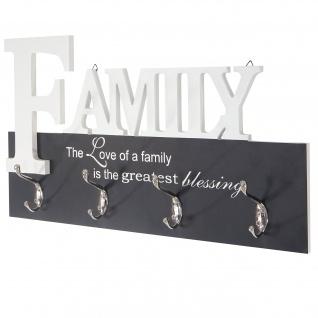 Wandgarderobe Family, Garderobenleiste Garderobe, mit 8 Haken 28x50cm