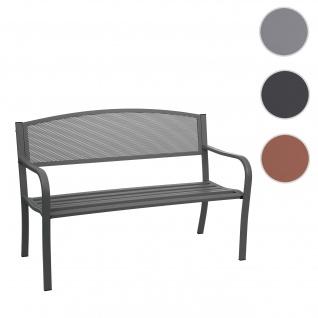 Gartenbank HWC-F52, Bank Parkbank Sitzbank, 2-Sitzer pulverbeschichteter Stahl ~ schwarz