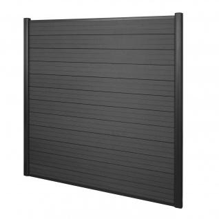 WPC-Sichtschutz Sarthe, Windschutz Zaun, Alu-Pfosten ~ Basiselement, 1, 90m anthrazit
