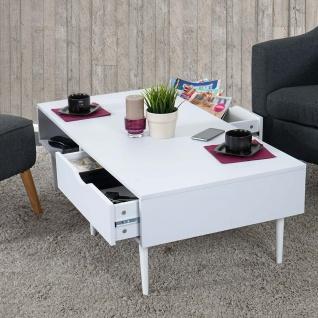 Couchtisch Malmö T341, Lowboard, Retro-Design 41x120x60cm weiß