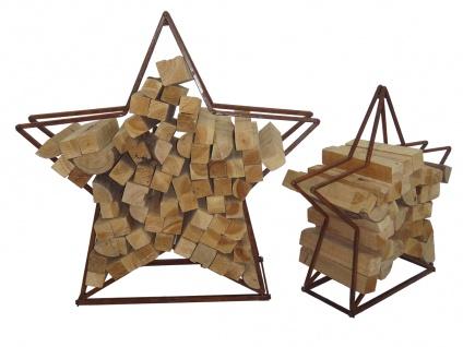 2er Set Brennholz-Stapelregal LD51, Kaminholzregal Feuerholzregal Kaminholzhalter Stapelhilfe, Metall Stern ~ Rost-Optik
