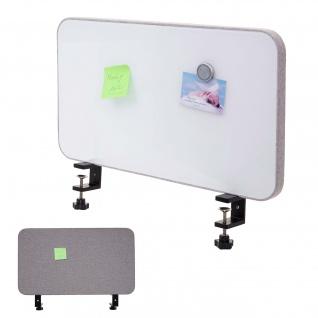 Tisch-Whiteboard HWC-G74, Büro-Sichtschutz Trennwand Schreibtisch Magnettafel Pinnwand, Stoff/Textil ~ 60x35cm grau