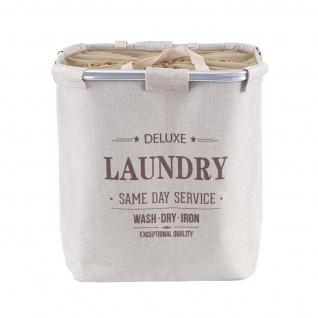 Wäschesammler HWC-C34, Laundry Wäschebox Wäschekorb Wäschebehälter mit Kordelzug, 2 Fächer Henkel 54x52x32cm 89l - Vorschau 4