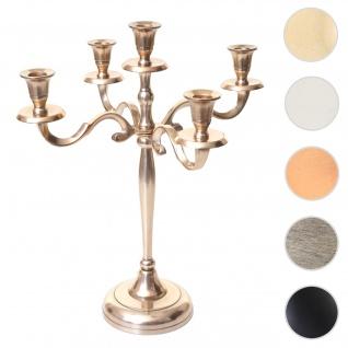 Kerzenleuchter HWC-D81, Kerzenständer Leuchter Kerzenhalter, 5-armig aus Aluminium 41cm massiv 1kg ~ Farbe: Gold