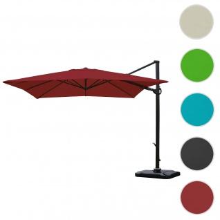 Gastronomie-Ampelschirm HWC-A39, 3x3m (Ø4, 24m) schwenkbar drehbar, Polyester/Alu 31kg ~ bordeaux mit Ständer