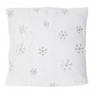 Deko-Kissen Schnee, Sofakissen Zierkissen mit Füllung, flauschig weiß Pailletten 45x45cm - Vorschau 3