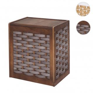 Wäschekorb HWC-G37, Wäschesammler Wäschesortierer Wäschebox, Massiv-Holz Shabby-Look Geflecht 61x51x35cm ~ braun