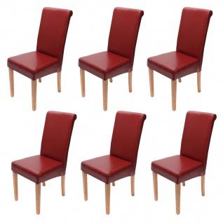 6xEsszimmerstuhl Stuhl Küchenstuhl Novara II, LEDER ~ rot, helle Beine