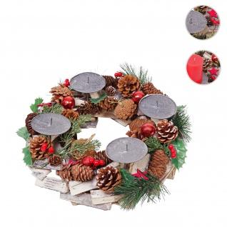 Adventskranz HWC-H49, Weihnachtsdeko Adventsgesteck Weihnachtsgesteck, Holz rund Ø 33cm ohne Kerzen