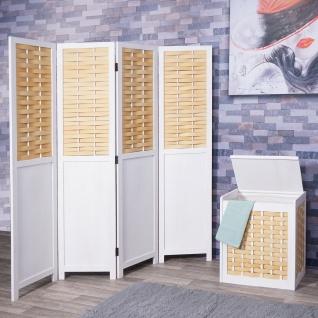 Set Paravent + Wäschekorb HWC-G37, Raumteiler Wäschesammler, Massiv-Holz Shabby-Look Geflecht