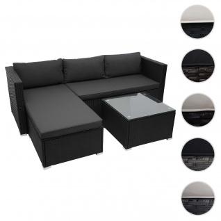 Poly-Rattan Garnitur HWC-F57, Balkon-/Garten-/Lounge-Set Sofa Sitzgruppe ~ schwarz, Kissen dunkelgrau ohne Deko-Kissen