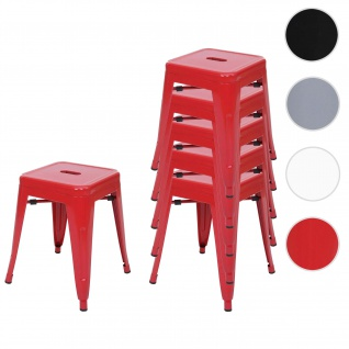 6x Hocker HWC-A73, Metallhocker Sitzhocker, Metall Industriedesign stapelbar ~ rot