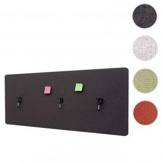 Akustik-Tischtrennwand HWC-G75, Büro-Sichtschutz Schreibtisch Pinnwand, doppelwandig Stoff/Textil ~ 160x60cm braun-grau