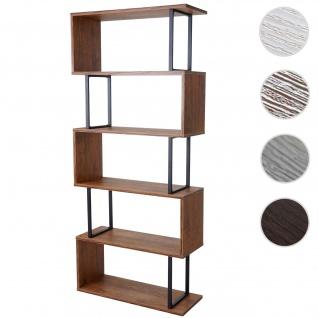 Bücherregal HWC-A27, Standregal Wohnregal, 183x80cm 3D-Struktur 5 Ebenen ~ Wildeiche-Optik, Metall schwarz