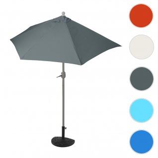 Sonnenschirm halbrund Parla, Halbschirm Balkonschirm, UV 50+ Polyester/Stahl 3kg ~ 270cm anthrazit mit Ständer