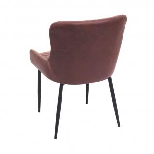 2x Esszimmerstuhl HWC-H79, Küchenstuhl Lehnstuhl Stuhl, Vintage Metall ~ Stoff/Textil braun - Vorschau 5