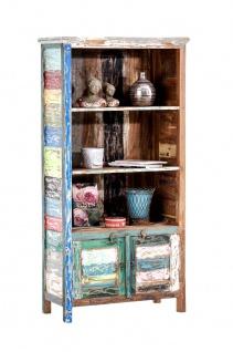 Bücherschrank CP331, Schrank Regal Wohnzimmerschrank, Teakholz, Shabby-Look Vintage, 180x86x42cm
