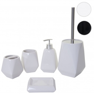 5-teiliges Badset HWC-C71, WC-Garnitur Badezimmerset Badaccessoires, Keramik ~ weiß